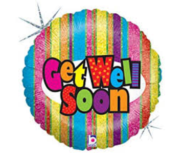 Anagram Heliumballon Gestreept met Get Well Soon