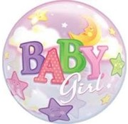 Qualatex Heliumballon Bubbles Sterren Baby Girl