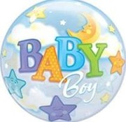Qualatex Heliumballon Bubbles Sterren Baby Boy