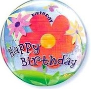 Qualatex Heliumballon Bubbles Bloemen Happy Birthday