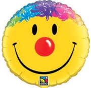 Qualatex Heliumballon Emoticon Smile Geel met rode neus