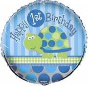 Qualatex Heliumballon  Happy 1st Birthday Schildpad
