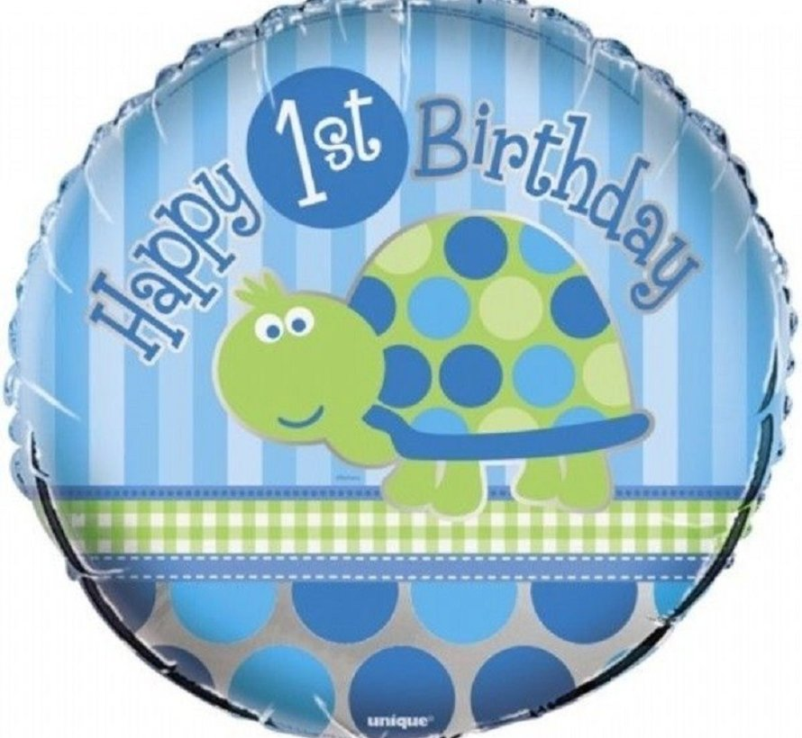 Heliumballon  Happy 1st Birthday Schildpad