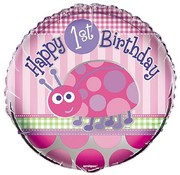 Qualatex Heliumballon  Happy 1st Birthday Ladybug