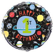 Qualatex Heliumballon Happy 1st Birthday Outer Space