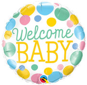 Qualatex Heliumballon Welcome Baby met stippen