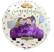 Anagram Heliumballon Just Married paarse auto