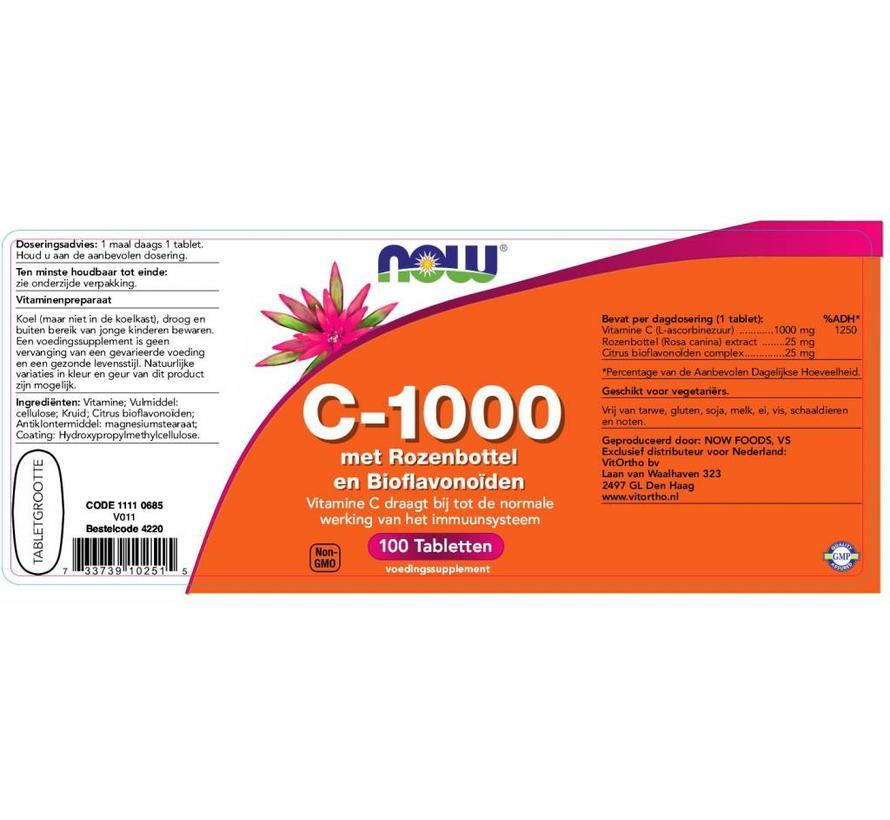 Vitamine C 1000 met rozenbottel bioflavonoiden 100 tabletten