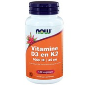NOW Foods Vitamine D3 1000 IE & Vitamine K2  120 vegicaps