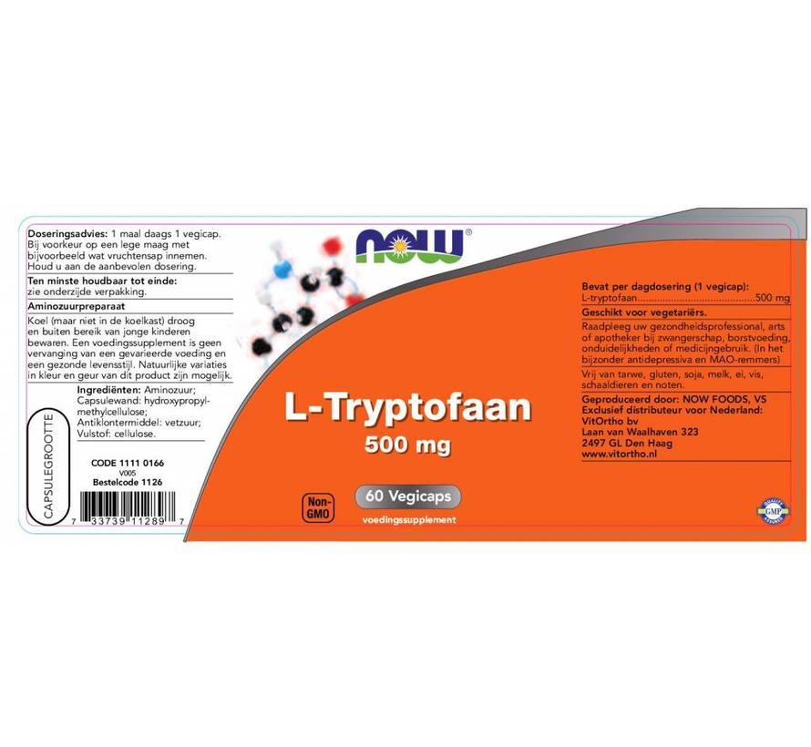 L-Tryptofaan 500mg  60 vegetarische capsules