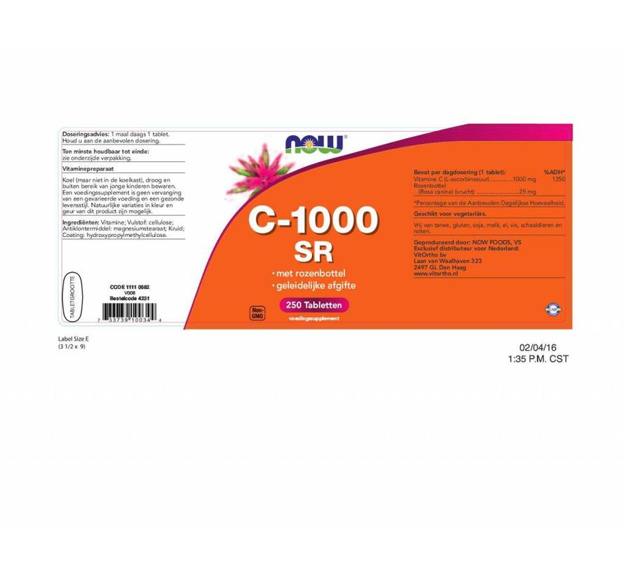 vitamine C1000 Sustained Release met Rozenbottel 250 tabs