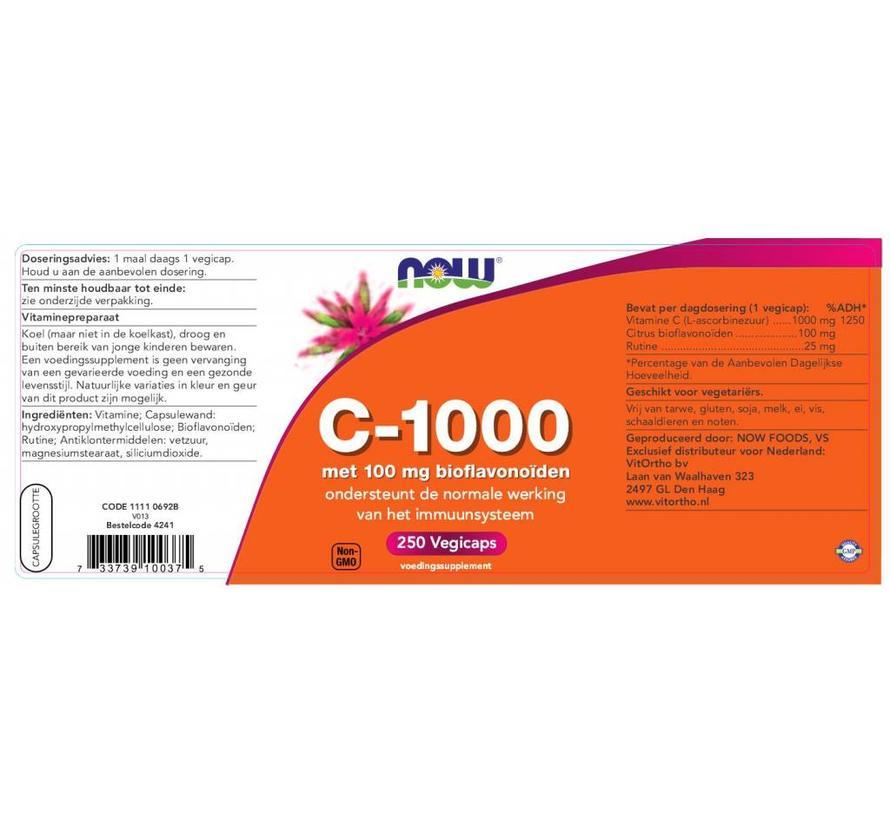 C 1000 Caps met 100 mg Bioflavonoïden 250 vegicaps