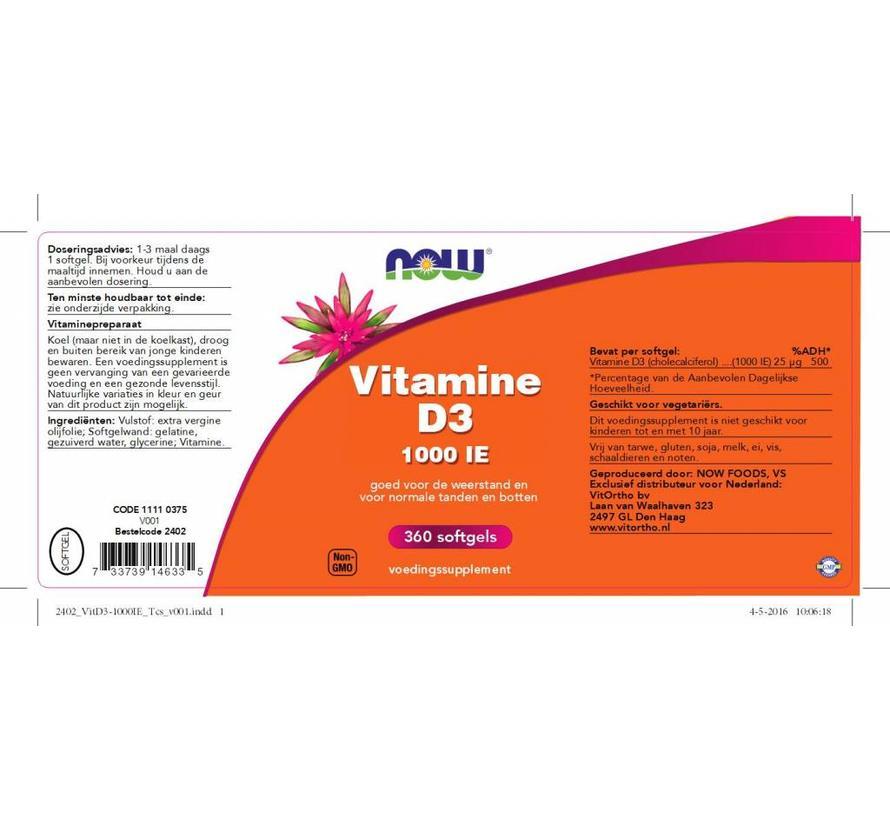 Vitamine D3 1000 IE 360 softgels