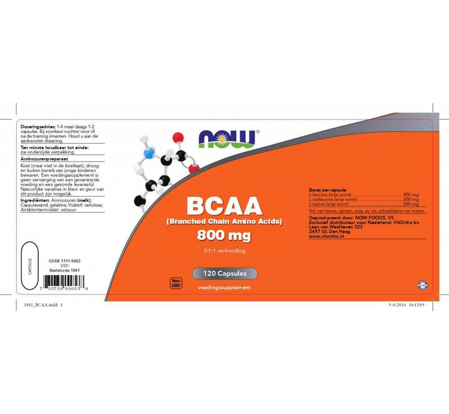 BCAA 800 mg (Branched Chain Amino Acids) 120 capsules