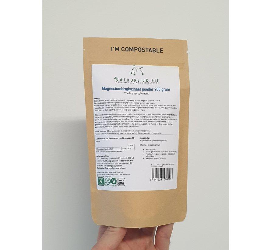 Magnesiumbisglycinaat poeder 200 gram