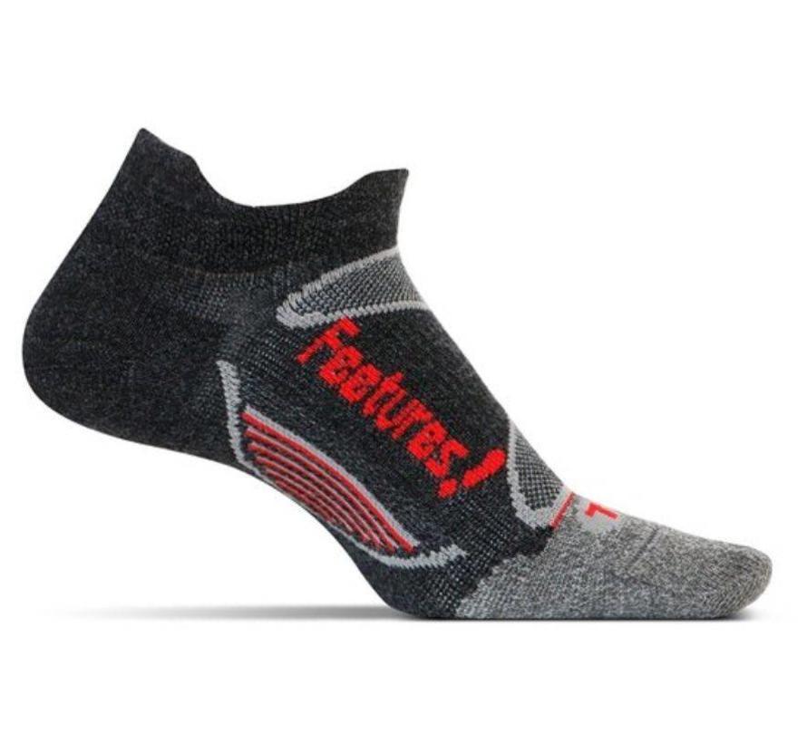 Feetures Merino+ Ultra Light zwart rood sportsokken uni