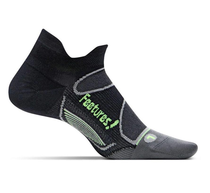 Feetures Elite Light Cushion zwart groen sportsokken uni