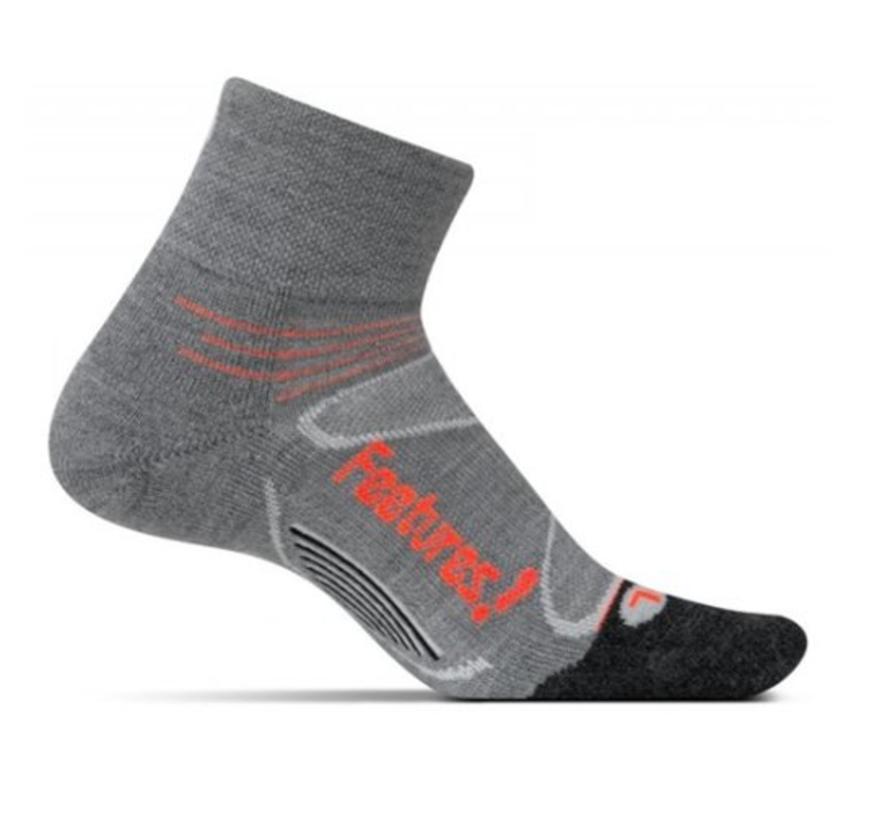 Feetures Elite Merino+ Cushion quarter grijs sportsokken uni