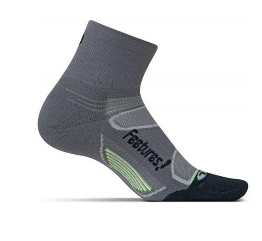 Feetures Elite Light Cushion grijs zwart sportsokken uni