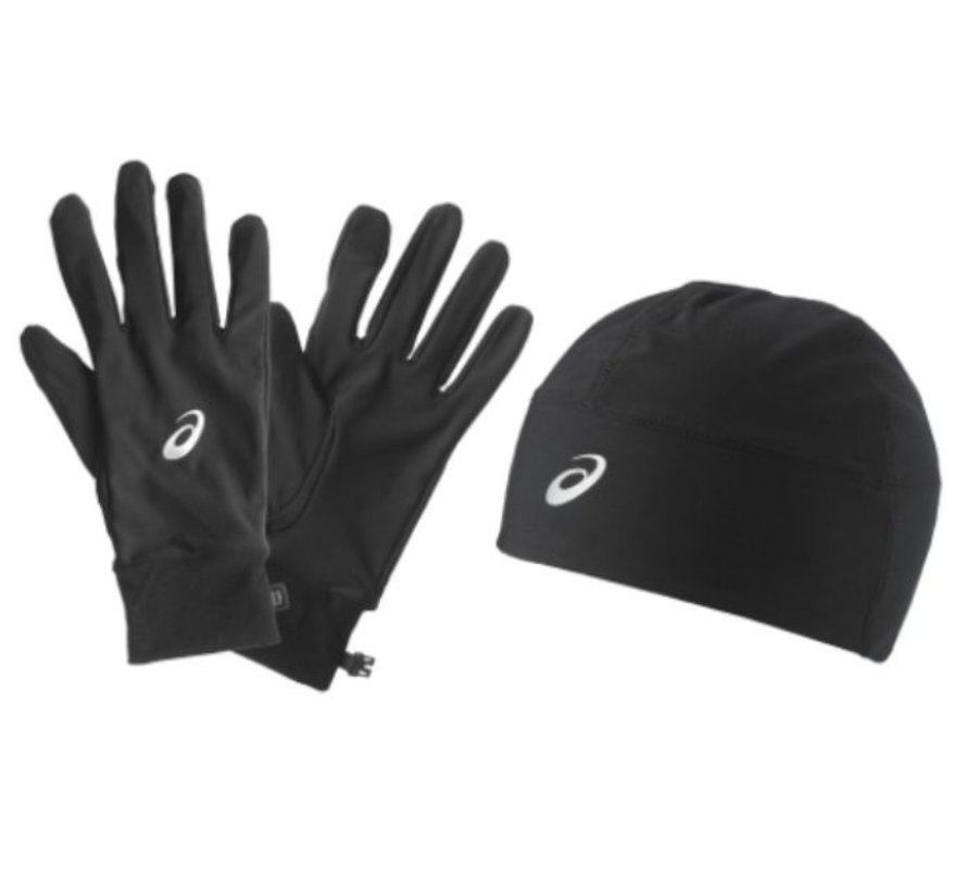Asics Performance Pack zwart hardloophandschoenen + beanie uni