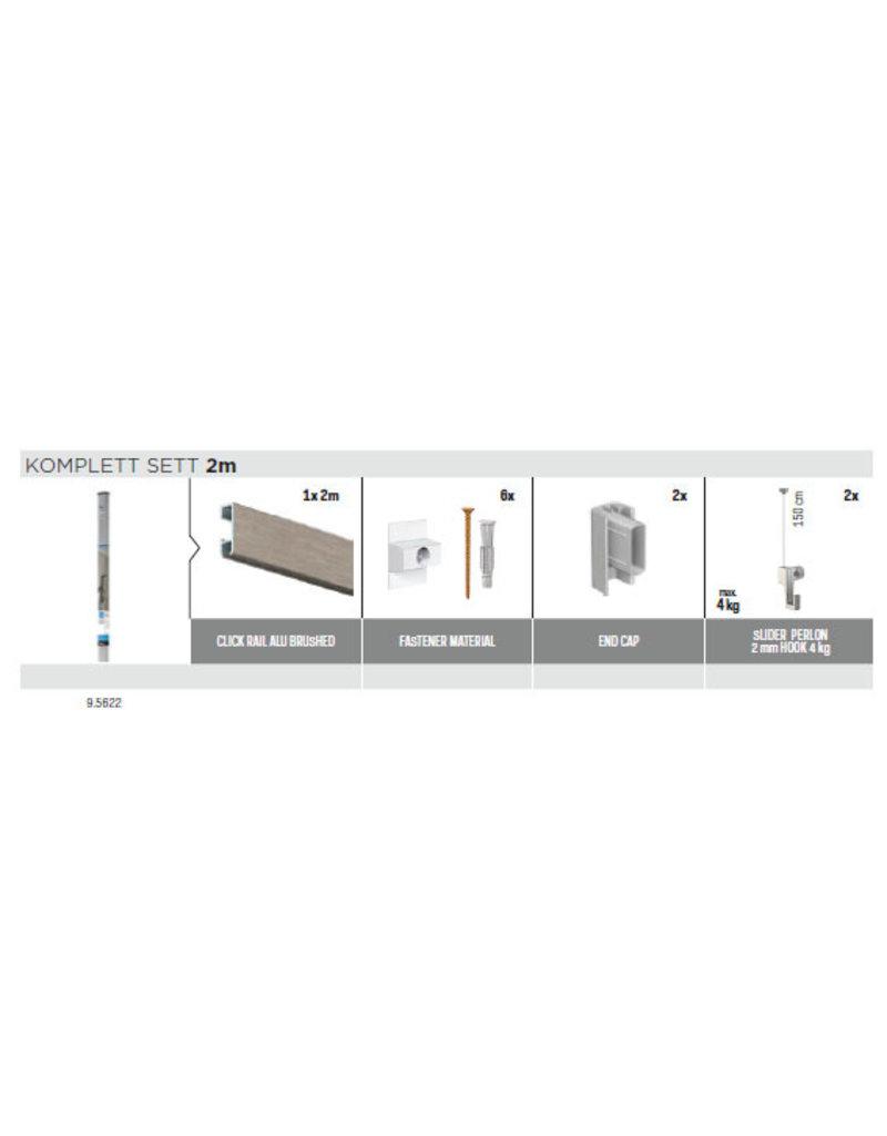 Artiteq Click Rail alt-i-ett sett Solid snor + 4kg krok