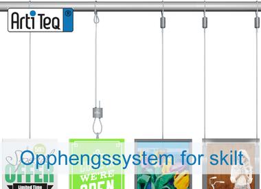 Opphengssystem for skilt og plakater