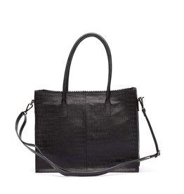 Zebra Natural bag Croco LISA - Black