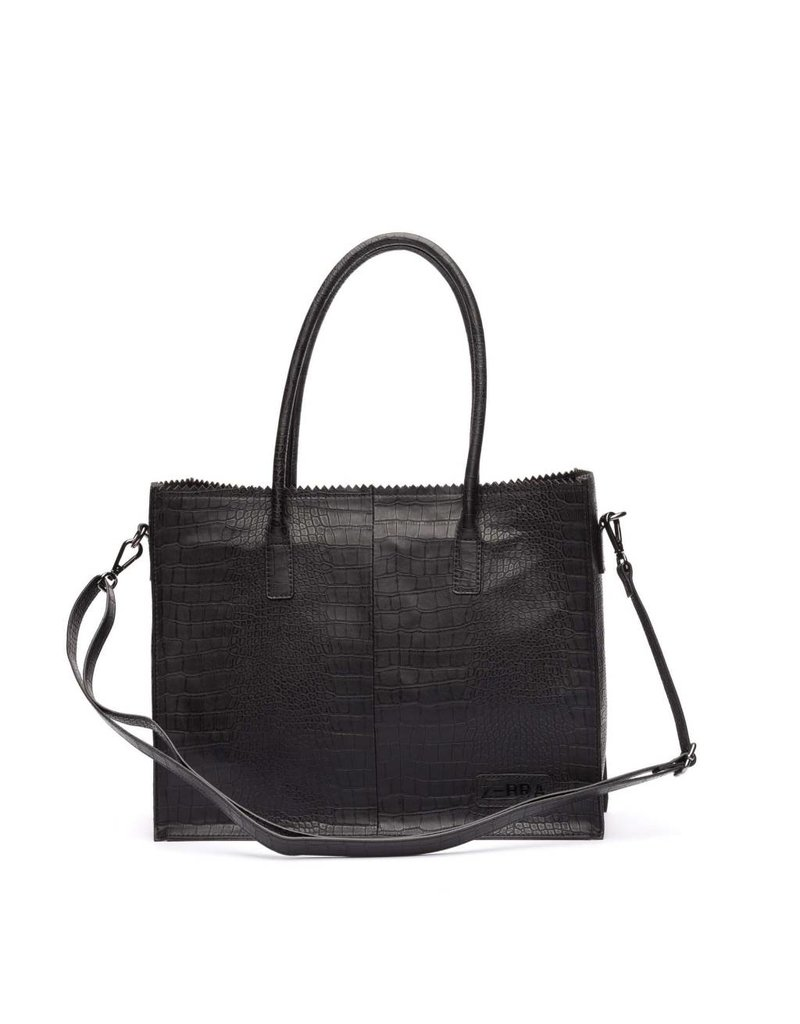 Zebra Natural bag Croco LISA - Black