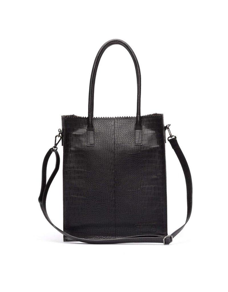 Zebra Natural bag Croco ROSA - Black