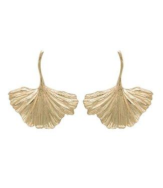 Anna + Nina Anna + Nina 021709GP0000 nr 2 Ginko Earring Brass Goldplated