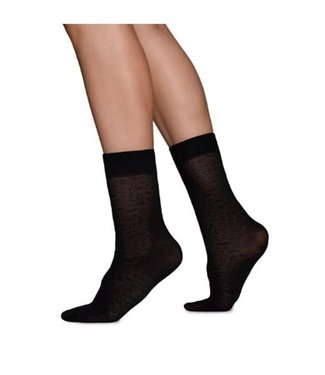 Swedish Stockings, Emma Leopard Socks, Black
