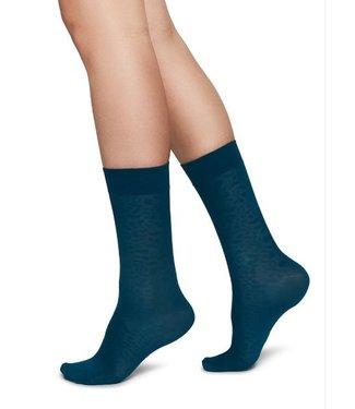 Swedish Stockings, Emma Leopard Socks, Petroleum
