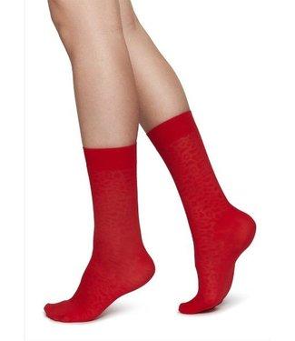 Swedish Stockings, Emma Leopard Socks, Sharp Red