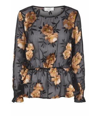 Just Female Just Female, Antonia Blouse 11041, Orange Flower Black