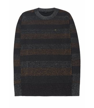 10 Feet 10 Feet, Fine Knitted Lurex Stripe Pullover, Black/Copper