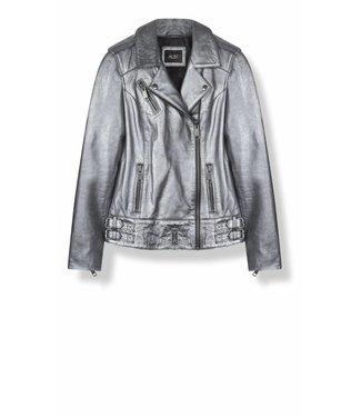 Alix Alix Metallic Leather Biker Jacket 185562732 Silver