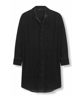 Alix Alix Woven Rib Velvet Blouse Black