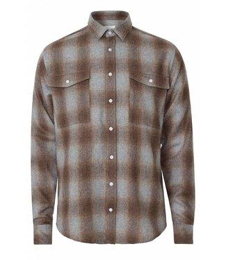 Les Deux Les Deux Bryson Wool Check Overshirt Light Brown/Grey