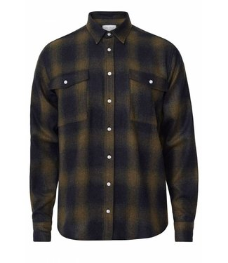 Les Deux Les Deux Bryson Wool Check Overshirt Black/Green