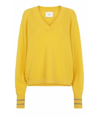 Just Female Just Female Remark V Neck Knit Spectra Yellow