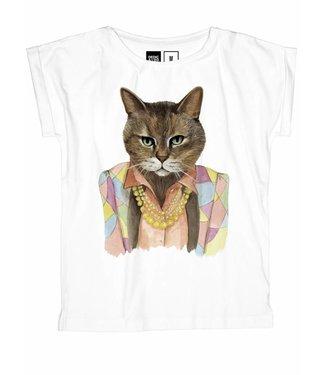 Dedicated Dedicated  T-shirt Visby Bling Cat White