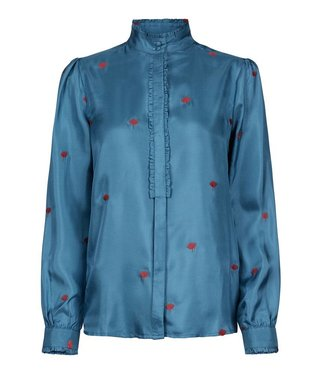 Fabienne Chapot Fabienne Chapot Mara Embroidery Blouse Heaven Blue/Deep Red