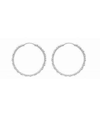 Anna + Nina Anna + Nina 18-2M902015BSP Cluster Hoop Earring Brass Silverplated