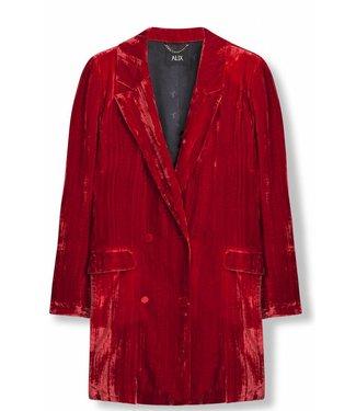 Alix Alix Crinkled Velvet Blazer Red