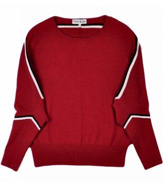 Teoh & Lea Teoh & Lea Dolman Sleeve Sweater 22135 Burgundy/Black/Whit