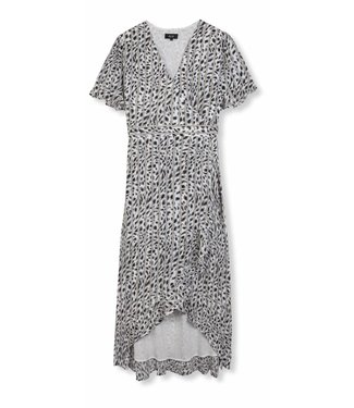 Alix Alix Ladies Woven Striped Leopard Dress Off White