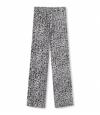 Alix Alix Ladies Woven Striped Leopard Pants Off White