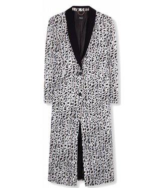 Alix Alix Woven Striped Leopard long Blazer Off White