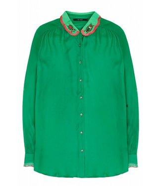 10 Feet 10 Feet Cute Feminine Blouse Contrast Embroidered Collar Emerald