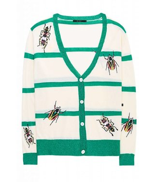 10 Feet 10 Feet Sheer Cardigan Stripes And Beatle Embroidery Cream / Emerald